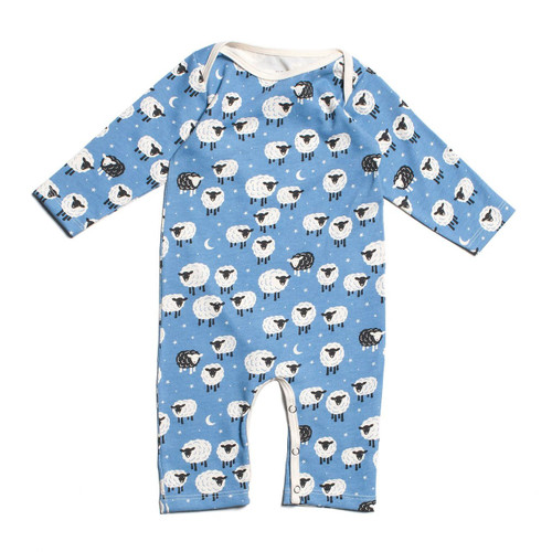 Organic Cotton Long Sleeve Romper, Counting Sheep