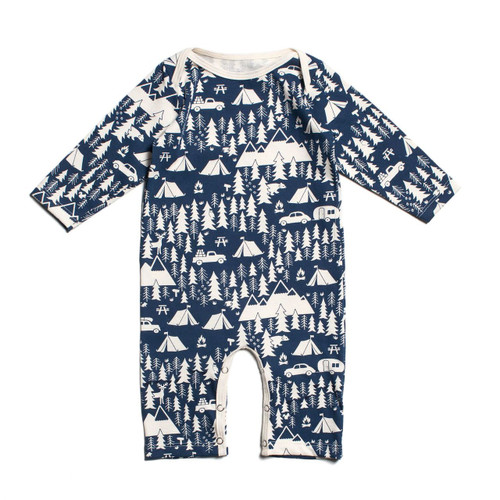 Organic Cotton Long Sleeve Romper, Campground Navy