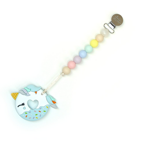 Blue Unicorn Donut Teether, Cotton Candy