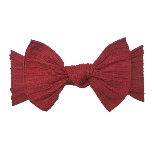 Cable Knit Knot Bow, Cherry Red