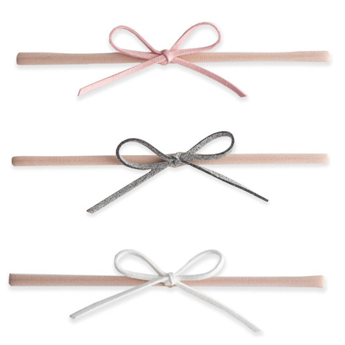 3-pk Suede Cord Bow, Grey/Pink/White