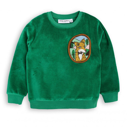 Mini Rodini Fox Velour Sweatshirt, Green