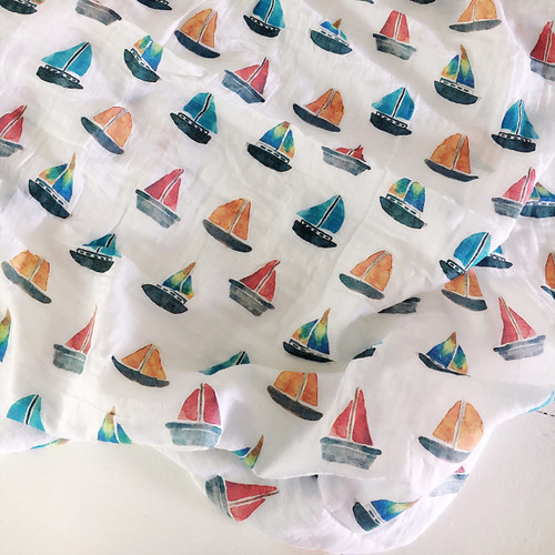 Sailboats Muslin Swaddle