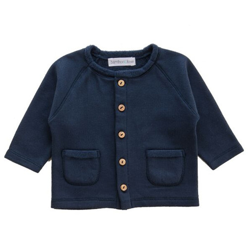 Knit Sweater Jacket with Pockets, Marine Blue