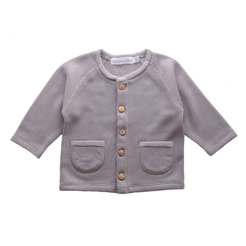Knit Sweater Jacket with Pockets, Grey