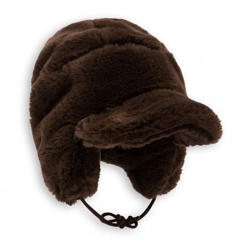 Mini Rodini Faux Fur Cap, Dark Brown