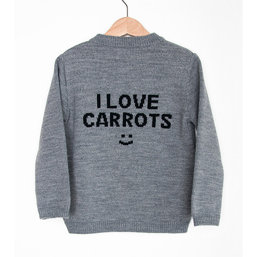 Organic Knitted Cardigan, I Love Carrots