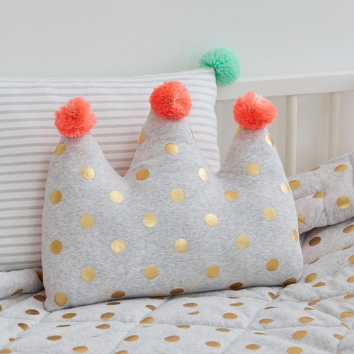 Plush Crown Cushion with Pom Poms