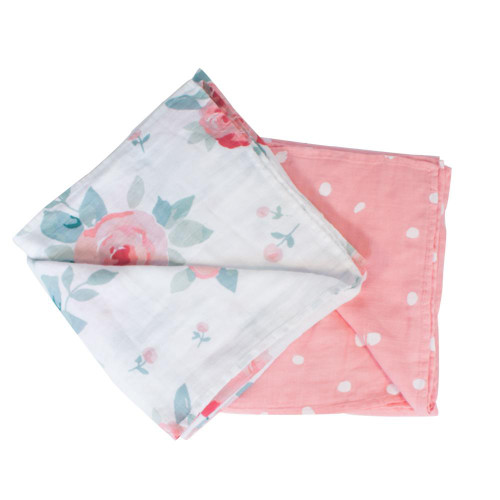 Bamboo Muslin Swaddle Blanket Set, Rosy & Dewdrops