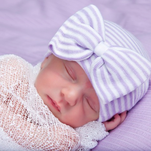 Newborn Bow Hat, Lavender Stripe
