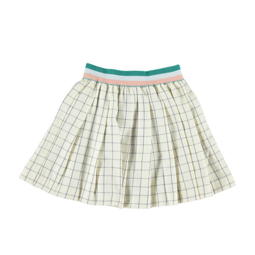 Pleated Skirt, Ecru Checkered