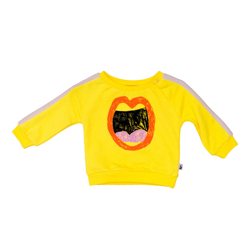 Baby Sporty Sweater, Yellow Mouth