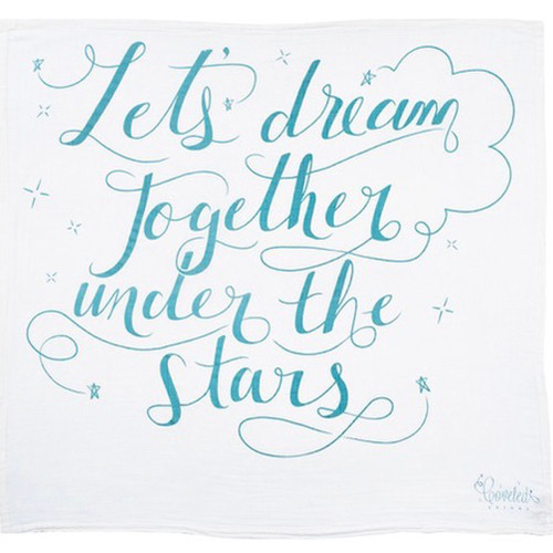 'Let's dream together under the stars' Organic Swaddle Scarf™, Blue