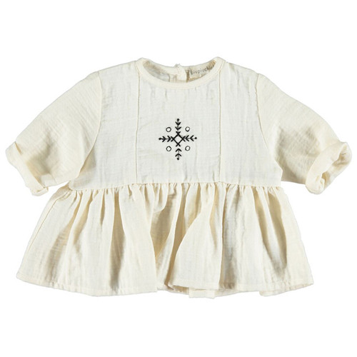 Romantic Shirt with Laces, Ecru with Embroidered Black