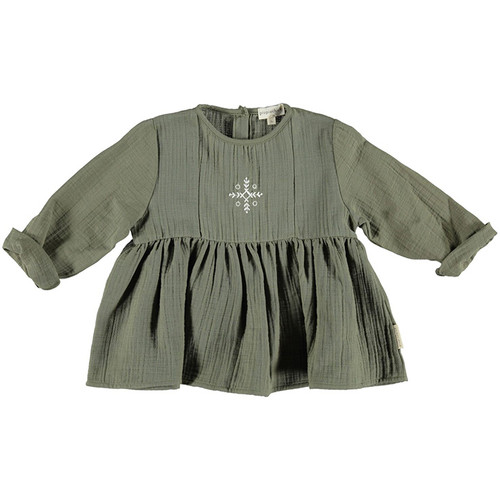 Romantic Shirt with Laces, Khaki with Embroidered Ecru