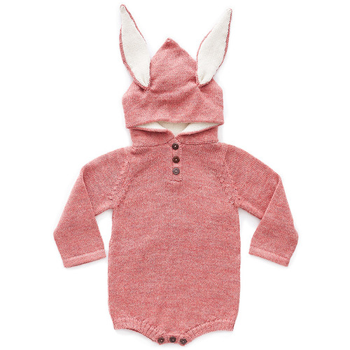 Oeuf Bunny Hooded Bodysuit, Rose/White