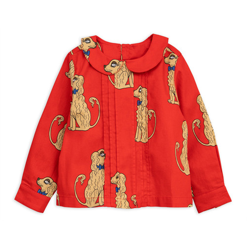 Mini Rodini Spaniels Woven Pleat Blouse
