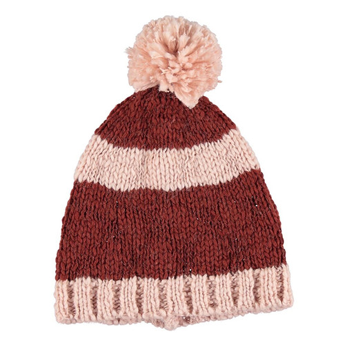 Knitted Hat, Pink and Brick Stripes