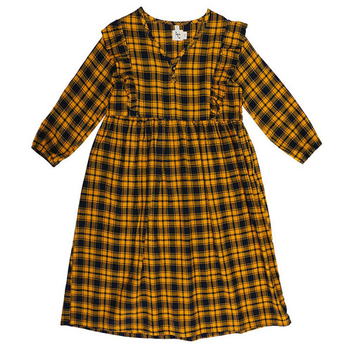 Mazzy Ruffle Dress, Mustard Plaid