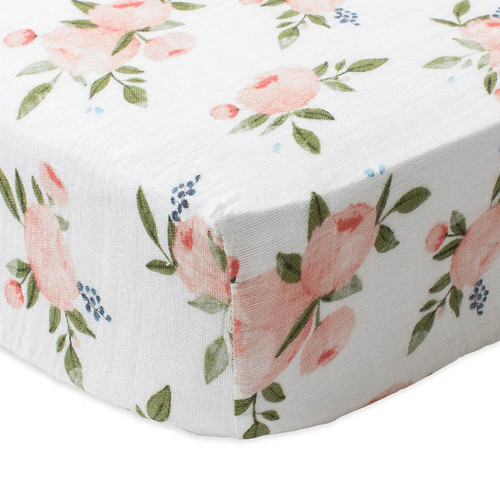 Cotton Muslin Fitted Crib Sheet, Peach Rose