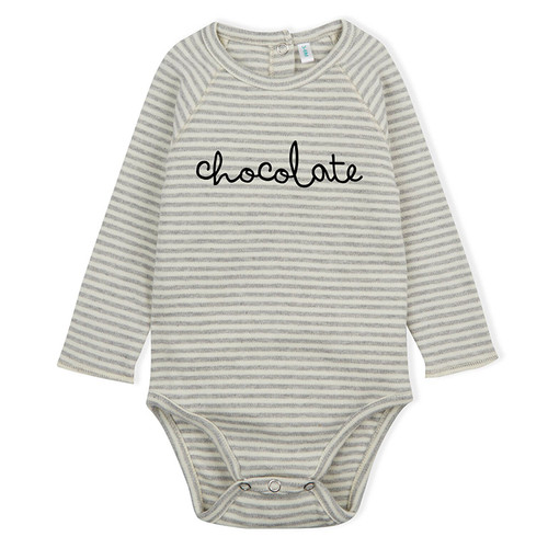 Organic Chocolate Bodysuit, Grey Stripes