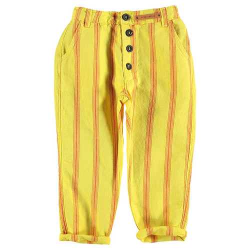 Trousers, Yellow with Red Stripes