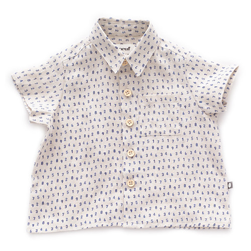 Oeuf Button Down Shirt, Beige/Numbers