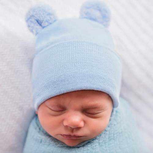 Newborn Bear Hat, Blue Fuzzy Ears