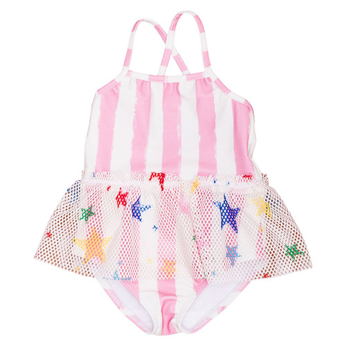 Skirted Swimsuit, Pink Stripes