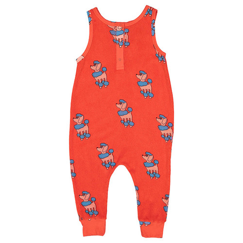 Terry Long Leg Romper, Red Poodle