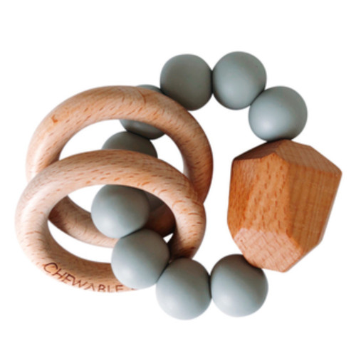 Hayes Silicone + Wood Teether, Grey