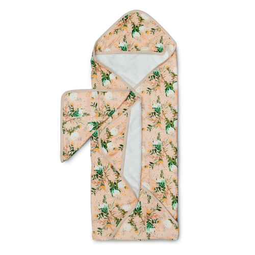 Terry Cloth & Bamboo Hooded Towel Set, Blushing Protea