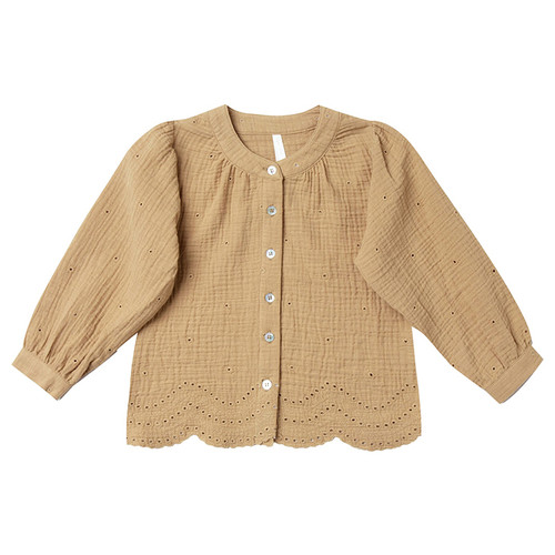 Rylee & Cru Eyelet Meadow Blouse, Honey