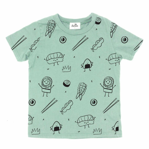 All Over Sushi Tee, Celedon