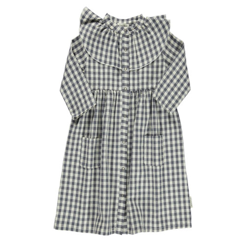Frill Collar Long Dress, Grey Check