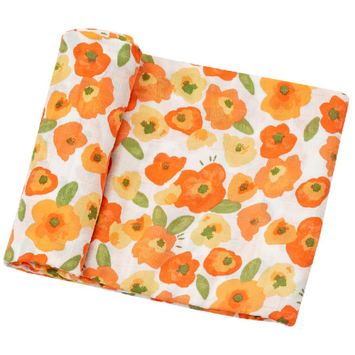 Poppies Muslin Swaddle Blanket