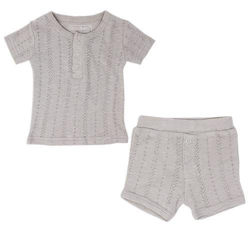 Pointelle Short Sleeve 2-Piece Outfit, Light Grey