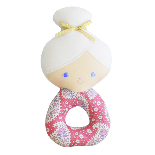 Amelie Grab Rattle, Pink Paisley
