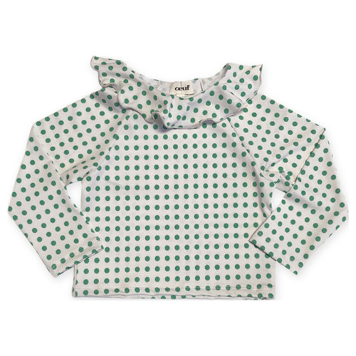 Oeuf Ruffle Rash Guard, Green Dots