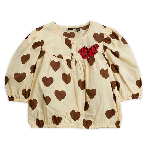 Mini Rodini Woven Blouse, Hearts