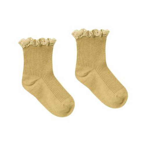 Rylee & Cru Lace Trim Socks, Citron