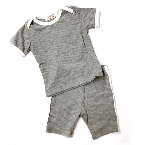 Ribbed 2-Piece Outfit, Heathered Grey