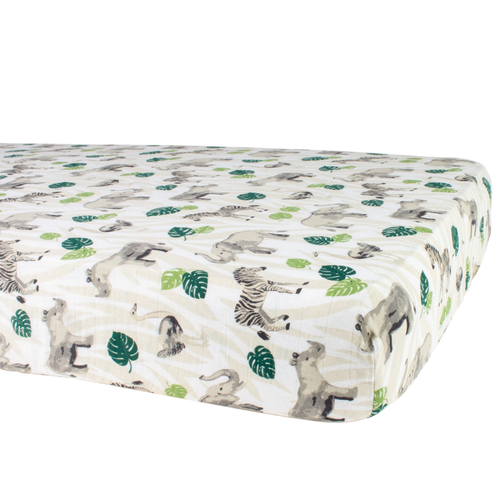 Muslin Crib Sheet, Jungle