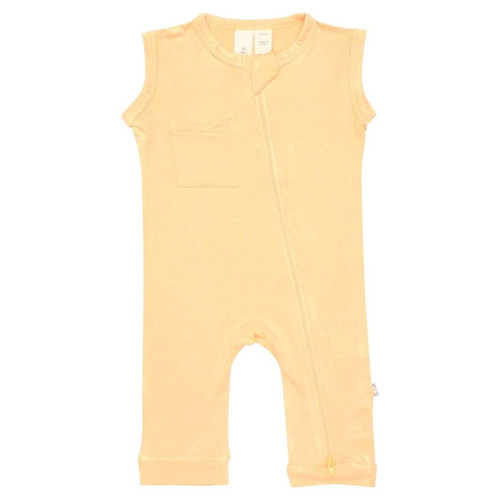 Zipper Sleeveless Romper, Honey
