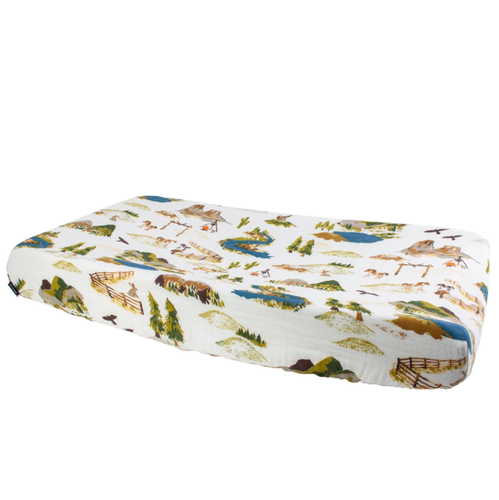 Muslin Changing Pad Cover, Wyoming