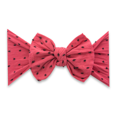 Knot Bow, Shabby Fruit Punch w/ Black Dots
