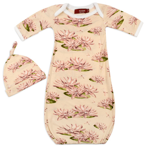 Bamboo Newborn Gown & Hat Set, Water Lily