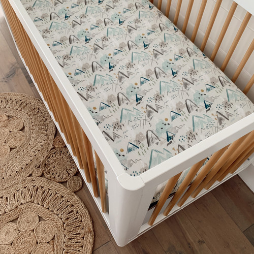 Muslin Crib Sheet, Mountain