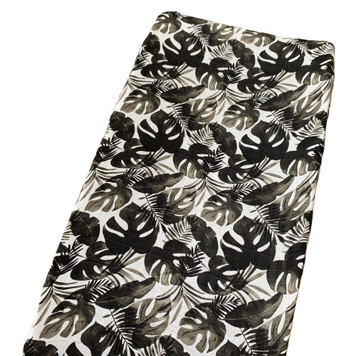 Muslin Changing Pad Cover, Black Monstera Leaf