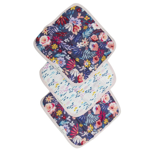 Wash Cloth Set, Dark Field Flowers